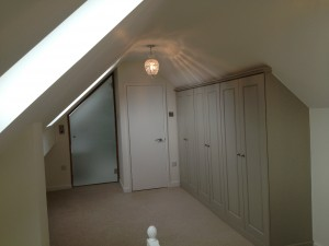 Glass door and fitted wardrobes