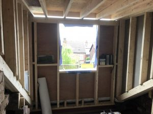 Image showing the inside of a dormer roof window in Cheadle Hulme ready to be insulated