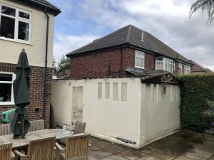 Garage roof asbestos removal in order to build a two storey extension