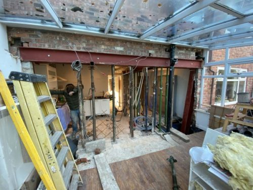 Steel Beams Supporting Rear of House